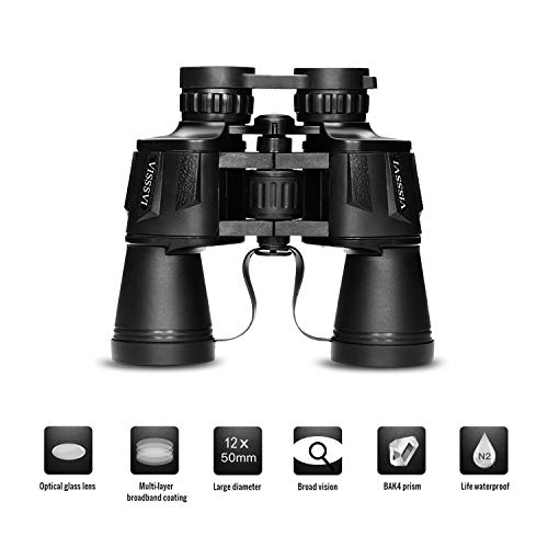 VISSSVI 12x50 Binoculars for Adults,Compact HD Full-Size Professional Zoom Binoculars Telescope for Bird Watching SightseeingTravel Hunting Sports Football-BAK4 Prism FMC Lens (with Case and Strap) (Best Binoculars For Surveillance)