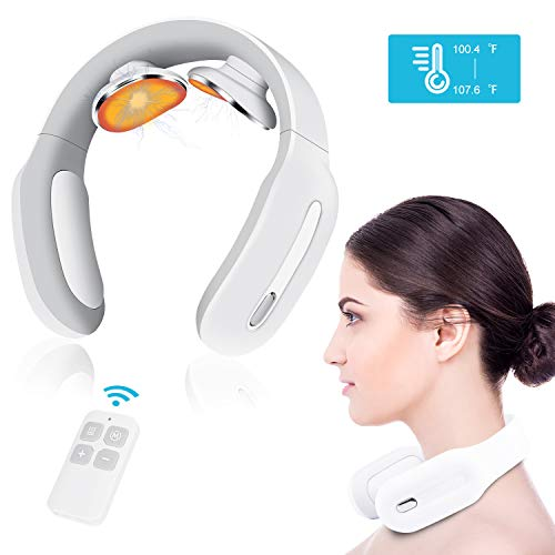 Pulse Neck Massager with Heated, 4D Smart Cordless Electric Massage Equipment 3 Modes and 15 Speeds for Office, Home,Travel, Gifts for Women Men Dad Mom