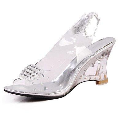 LvYuan Tacón de cristal-Zapatos del club-Sandalias-Boda Vestido Informal-PU-Plata Oro Gold