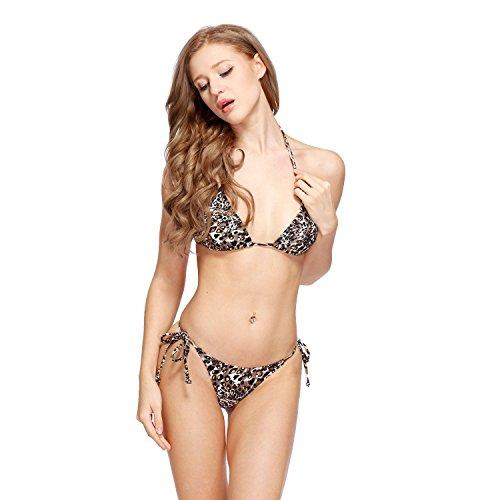 Angus Women's Sexy Triangle Top with Tiny Thong Bottom Brazilian Bikini Swimwear Golden Print Leopard M