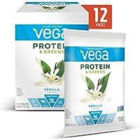 12-Pack Vega Plant Based Protein & Greens Vanilla Flavored Powder