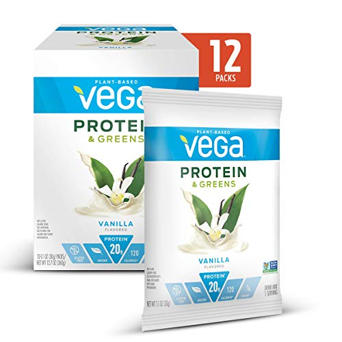 Vega Protein & Greens Vanilla (1.0 Ounce, Pack of 12) – Plant Based Protein Powder, Keto-Friendly, Gluten Free, Non Dairy, Vegan, Non Soy, Non GMO – (Packaging may vary)