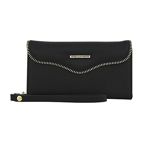 Rebecca Minkoff Wristlet, M.A.B. Tech Wristlet Case [Protective] Designer Wristlet fits Apple iPhone 8 plus and 7 Plus(5.5) - Black Leather from Rebecca Minkoff