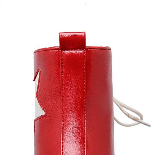 AllhqFashion Mujeres Caña Baja Dos tonos Cordones Puntera Redonda Plataforma Botas Rojo