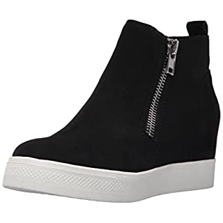 Steve Madden Women's Wedgie Sneaker, Black Suede, 6 M US