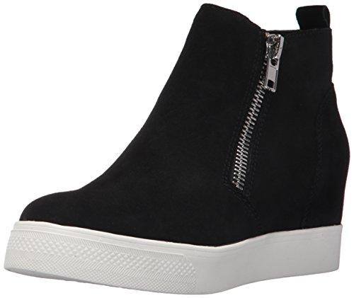 (Steve Madden Women's Wedgie Sneaker, Black Suede, 6 M)