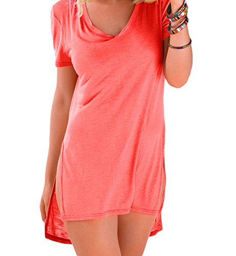 [DH-MS Dress Womens Orange Cozy Short Sleeves T-shirt Cover-up XL] (Group Dressing Up Ideas)