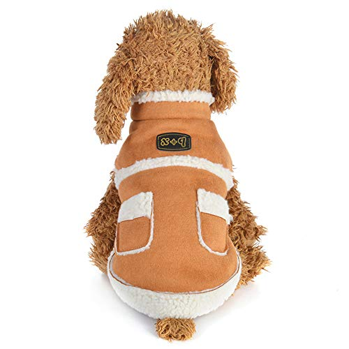 Alixyz Fashion Sweatshirts for Dog Comfortable Pet Clothes Puppy Lamb Cashmere Coat Vest (L, Brown)