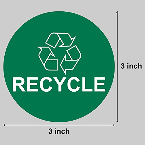 Recycle Logo Recycling Circle Symbol Labels Round Self Adhesive Stickers (Green White / 3