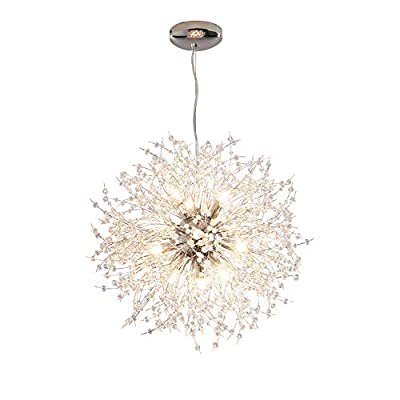 Dellemade Modern Sputnik Chandelier, DD00906N 12-Lights Fireworks Pendant Light,Silver Crystal Ceiling Light Fixture for Bedroom,Living Room,Dining Room