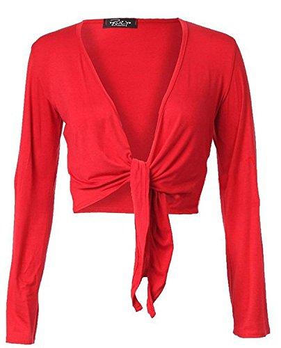 De Colores Larga Manga Con Diseño Y Rosso El Camiseta Vientre Anudado Plano En SqTfwqa