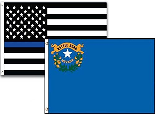 ALBATROS 3 ft x 5 ft USA Police Blue Nevada State 2 Pack Flag Set Combo for Home and Parades, Official Party, All Weather Indoors Outdoors