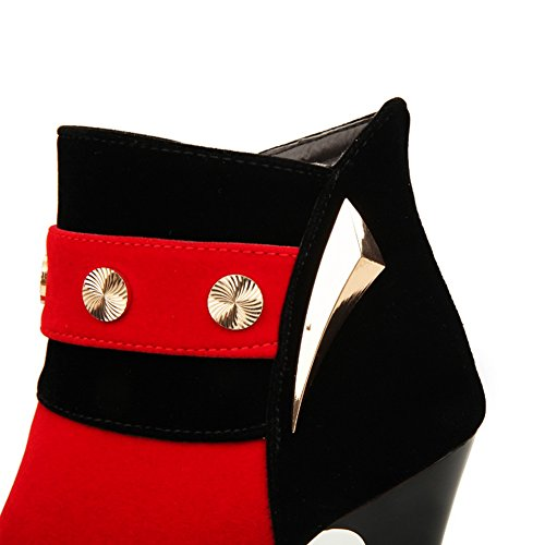 Ankle Boots Top High Womens MNS02088 No Nubuck Urethane Lining Road Low Red 1TO9 Closure Waterproof Warm Bootie Boots Low Heel Studded Top Wrap xYqw8ZRCw