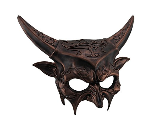 Metallic Horned Demon Goat Man Half Face Mask]()
