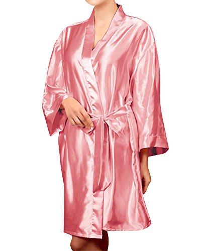 Mujer Ropa Dormir Satén Manga Larga Estilo Kimono Vestido Elegante Albornoces Style 1