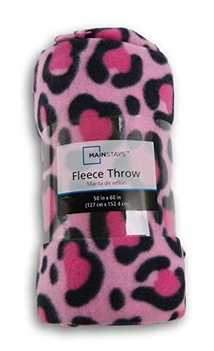 (Home Linens Pink Leopard Print Fleece Throw Blanket - 50in X 60in)