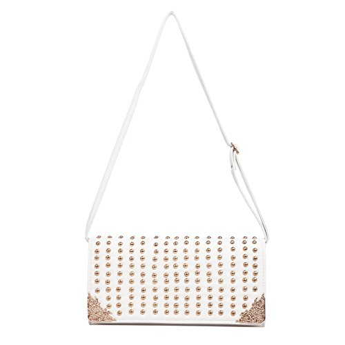 Handbag Leather Premium PU white Off Diff Bag Flap Large Clutch Front Colors Studded qqS8rE