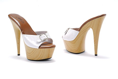 Women's 6 Inch Pointed Heel Mule With Buckle (White;8)