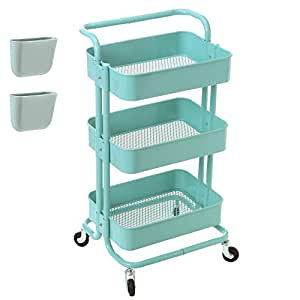 Zytty 3 Tier Rolling Cart Metal Utility Cart with Wheels, Rolling Shelf Storage Cart Art Cart Kitchen Organizer Office Shelving Bathroom Rack with Handle and 2 Hanging Bins, Aqua Blue
