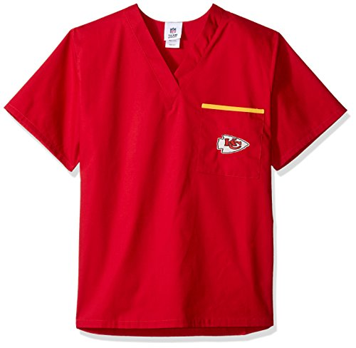NFL Kansas City Chiefs Scrub Dudz Solid Scrub Top, Unisex, X-Large, Red (Kc Chiefs Halloween)