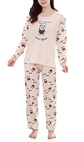 Pantaloni Taglie Giovane Donna Hippie Homewear Donne Elegante Top Stampa Girocollo Primaverile Manica Pezzi Pigiami Traspirante Pigiama Animalier Lunga Autunno Comfort Beige Due Forti Lungo Larghi CPZw55
