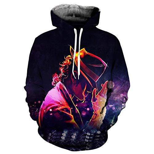 Men Women Michael Jackson Thriller Jacket 3D Printing Sweatshirt Hooded Streetwear,XX-Large,KingofPop ()