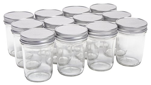 North Mountain Supply 8 Ounce Glass Regular Mouth Tapered Mason Canning Jars - with Silver Safety Button Lids - Case of 12]()