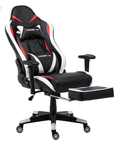 Morfan Gaming Chair Executive Swivel Leather Racing Style High-Back Office Chair with Lumbar Massager Support and Retractable Footrest (Black/Red/White) …