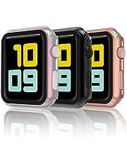 Hianjoo [3 Pack] Screen Protector Compatibel met Apple Watch 38 mm, [All-around Protection] PC Cover Case met Gehard Glas Vervanging voor Apple iWatch 38 mm Serie 3/2/1- Zwart, Goud, Kleurrijk
