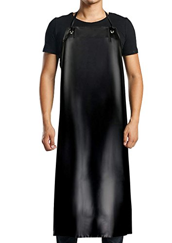 NANOOER Heavy Duty Vinyl Waterproof Apron Durable Ultra Lightweight Extra Long Black - Industrial Grade Material for Ultimate Protection