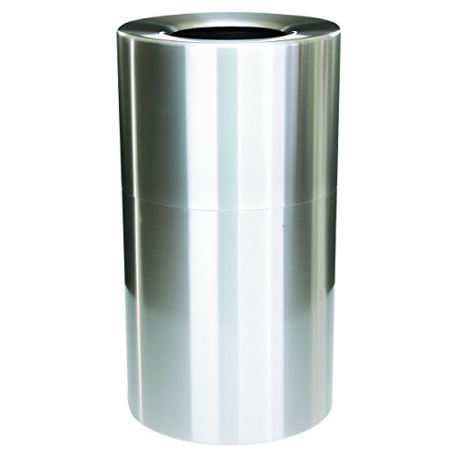 Rubbermaid Commercial Two-Piece Open Top Indoor Receptacle, Round, Satin Aluminum, 35 Gallon (35 Gal Open Top Receptacle)