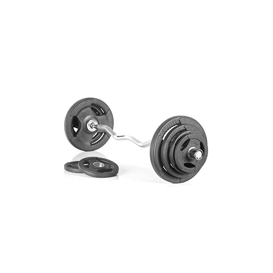 XMark Fitness Olympic EZ Curl Bar With Durable Nylon Bushings And Olympic Weight Set Package