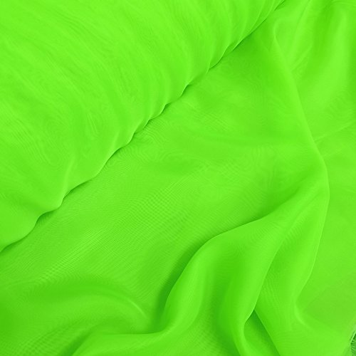 "120"" Wide Sheer Voile Chiffon Fire Retardant Resistant Drapery Fabric 20+ Colors (Lime VL-19)"