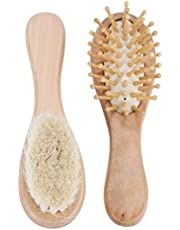 Baby Natural Wooden Hair Brush and Comb Set Eco-Friendly Goat Hair Bristles for Newborns Toddlers Daily Care