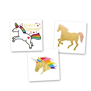 Unicorn Dreams Variety Set of 24 assorted premium waterproof metallic gold rainbow temporary foil Flash Tattoos, unicorn tattoo, gold tattoo, tattoo set