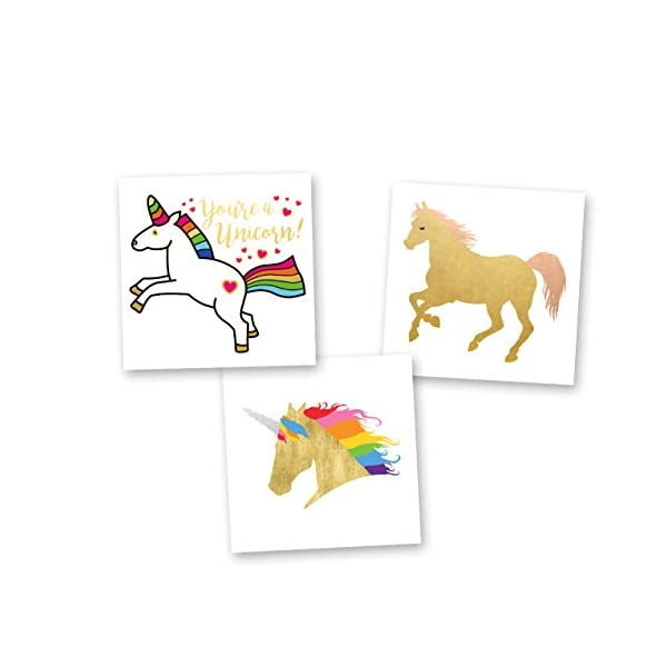 Unicorn Dreams Variety Set of 24 assorted premium waterproof metallic gold rainbow temporary foil Flash Tattoos, unicorn tattoo, gold tattoo, tattoo set, kids temporary tattoo, kids party favor 3