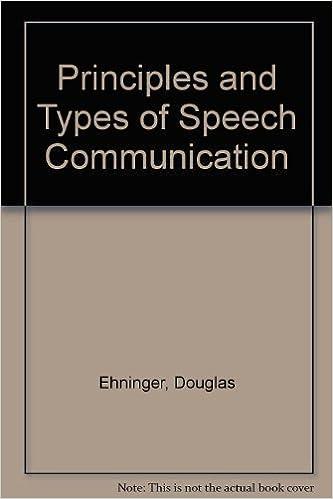 Principles And Types Of Speech Communication Douglas Ehninger Alan