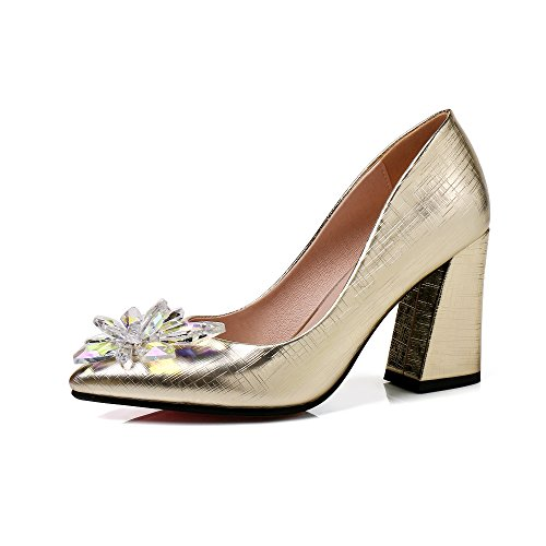 JIEEME Ladies Sexy Block Heels Crystals Women Pumps Gold Red High Heels Women Court Shoes Gold