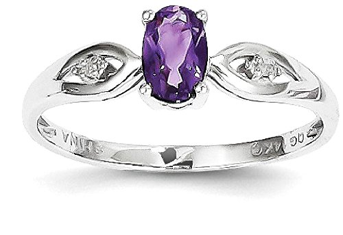 ICE CARATS 14k White Gold Purple Amethyst Diamond Band Ring Size 7.00 Stone Birthstone February Set Style Fine Jewelry Gift Set For Women Heart by ICE CARATS