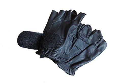 レザー指なしブラックオートバイジェルPalmグローブXL