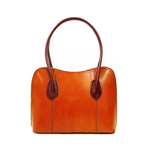 Italian Smooth Shiny Leather Classic Style Tote Grab Bag or Shoulder Bag Coffee Tan
