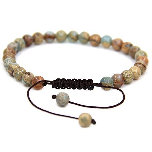 Natural Serpentine Gemstone 6mm Round Beads Adjustable Bracelet 7 Unisex