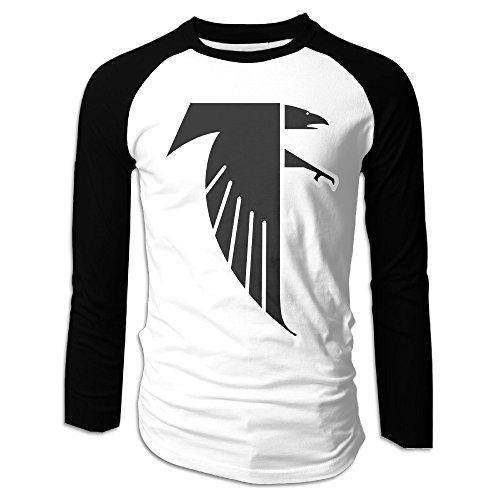 Creamfly Mens Atlanta Freddie Falcon Long Sleeve Raglan Baseball Tshirt L