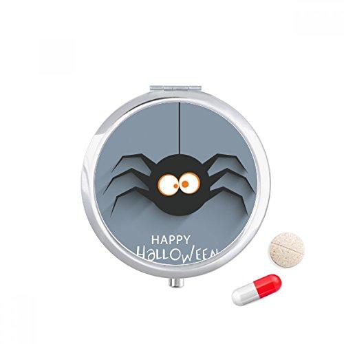 Halloween Insect Spider Cobweb Illustration Travel Pocket Pill case Medicine Drug Storage Box Dispenser Mirror Gift ()