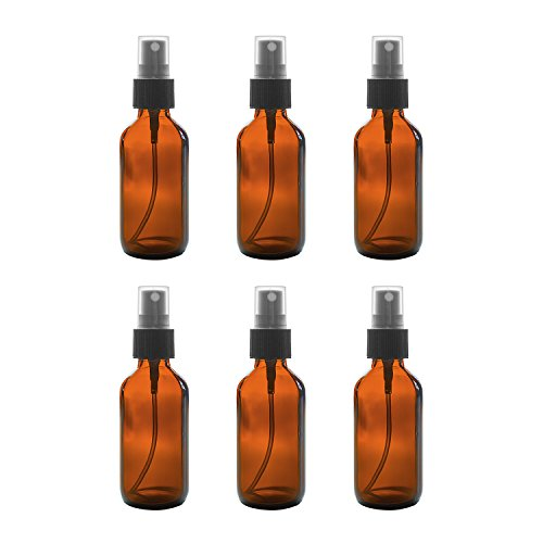 2 oz Amber Boston Round Glass Bottle with Fine Mist Sprayer Dispenser for Essential Oils, Chemistry Lab Chemicals, Colognes & Perfumes (6 Pack) ()