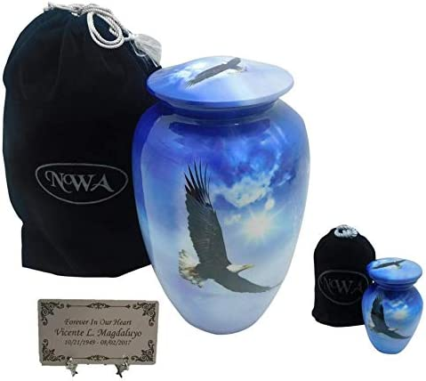 Personalized Large Size Finding Freedom Flying American Eagle Human Cremation Urn with Keepsake and Velvet Bags