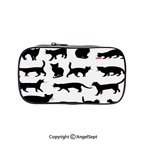 Cute Pencil Case - High Capacity,Black Cat Silhouettes in Different Poses Domestic Pets Kitty Paws Tail and Whiskers Decorative Black White 5.1inches,Multifunction Cosmetic Makeup Bag,Perfect Holder]()