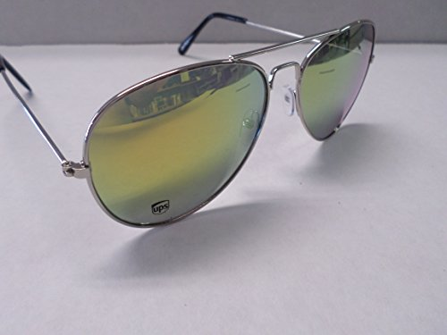 Aviator UPS Logo Sunglasses Silver/Yellow - Card Aviator Silver