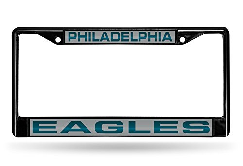 Rico Industries NFL Philadelphia Eagles Laser Cut Inlaid Standard Chrome License Plate Frame, 6