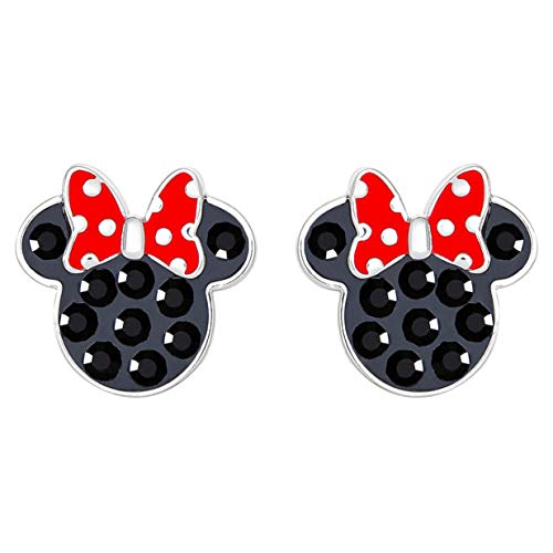 Disney Sterling Silver Minnie Mouse Crystal and Enamel Stud Earrings